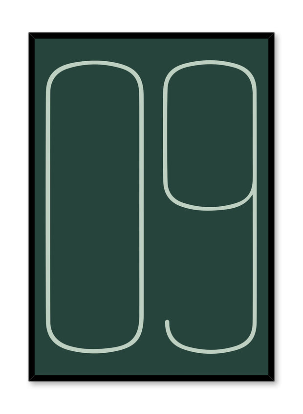 Scandinavian poster with dark green graphic typography design of analog number nine by Opposite Wall