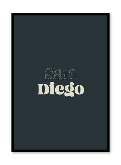 Scandinavian poster with dark green colour graphic typography design of San Diego text by Opposite Wall