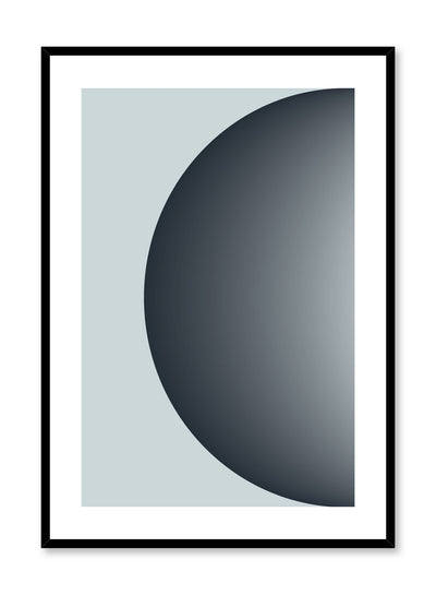 Minimalist design poster by Opposite Wall with Half Moon abstract graphic design of coloured half circle in blue grey