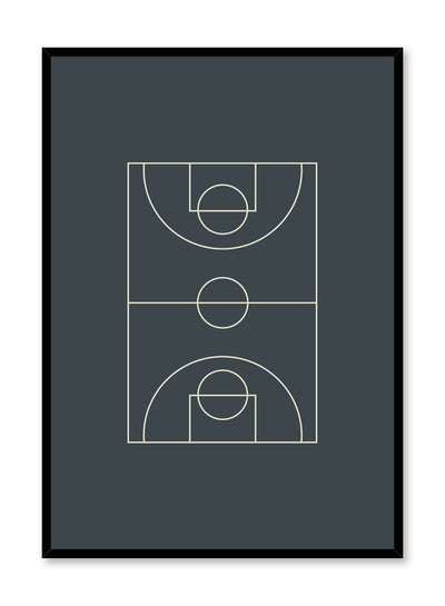 Minimalist design poster by Opposite Wall with Baseline abstract graphic design basketball court in grey