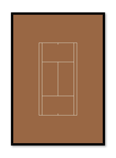 Minimalist design poster by Opposite Wall with Talk It Up Tennis Court abstract graphic design in orange
