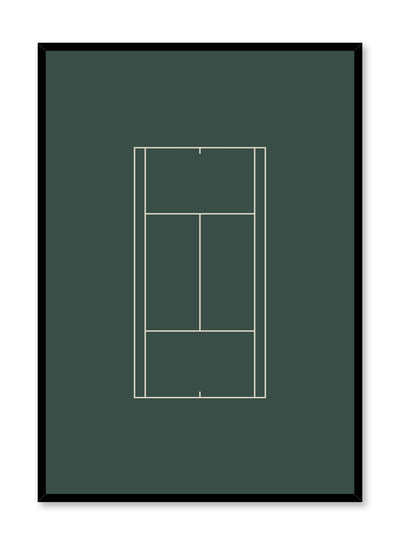 Minimalist design poster by Opposite Wall with Tennis Court abstract graphic design in green