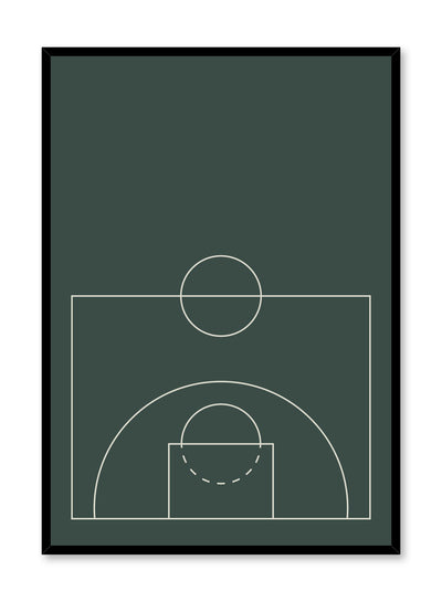 Minimalist design poster by Opposite Wall with Free-Throw abstract graphic design of basketball court in green
