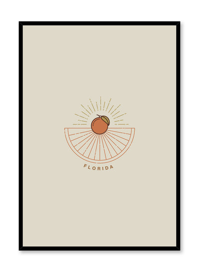 Minimalist design poster by Opposite Wall with Florida abstract graphic design of landscape and oranges