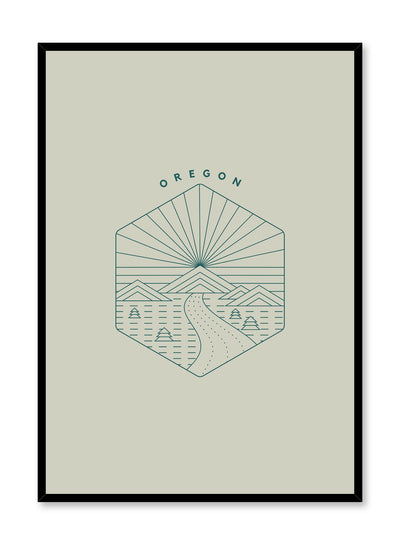 Minimalist design poster by Opposite Wall with Oregon abstract graphic design of landscape