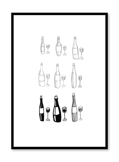 Minimalist poster by Opposite Wall with Vino wine illustration in black and white