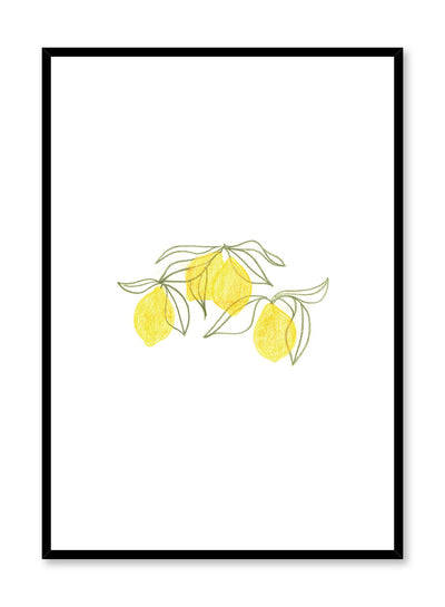 Minimalist poster by Opposite Wall with Lemon Leaves fruit and food illustration