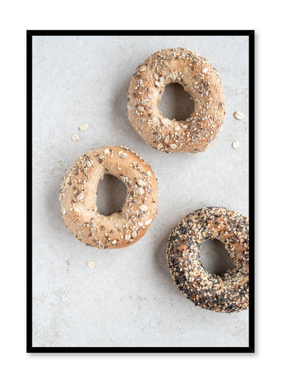 Scandinavian poster by Opposite Wall with bagel food photography on gray