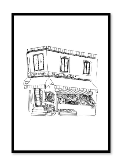 Minimalist poster by Opposite Wall with Corner Store black and white illustration