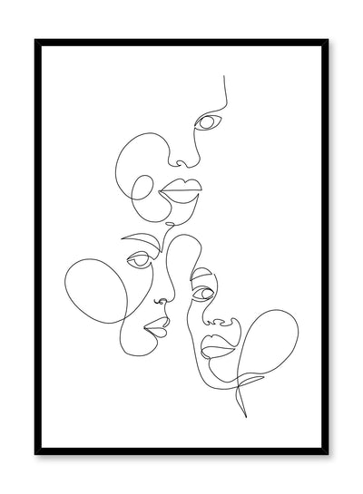 Modern minimalist abstract poster by Opposite Wall with line art faces design by Shatha Al Dafai