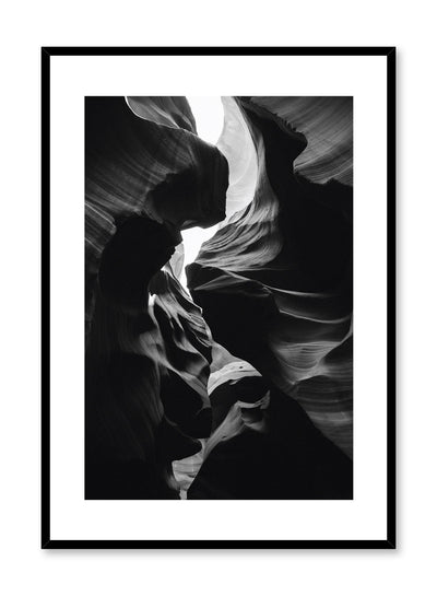 Modern minimalist poster by Opposite Wall with black and white photography of Antelope Canyon in Arizona
