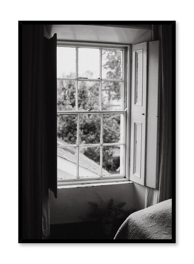 Modern minimalist poster by Opposite Wall with black and white photography of bedroom window