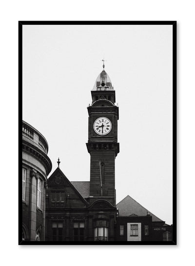 Modern minimalist poster by Opposite Wall with black and white photography of Clock Tower in Edinburgh, Scotland