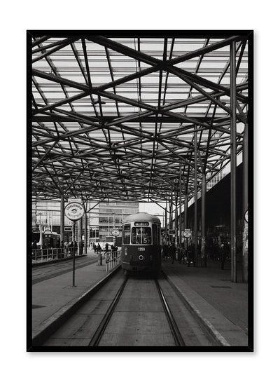 Modern minimalist poster by Opposite Wall with black and white photography of train station