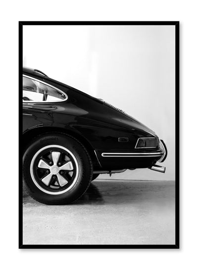 Modern minimalist poster by Opposite Wall with black and white photography of Porsche car
