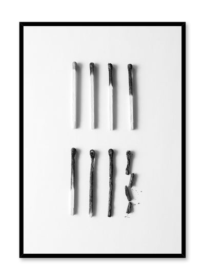 Modern minimalist poster by Opposite Wall with black and white photography of burned matches