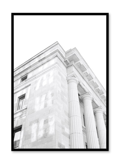 Modern minimalist poster by Opposite Wall with black and white architecture photography of Corner Facade