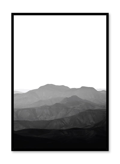 Modern minimalist poster by Opposite Wall with black and white landscape photography of mountain range