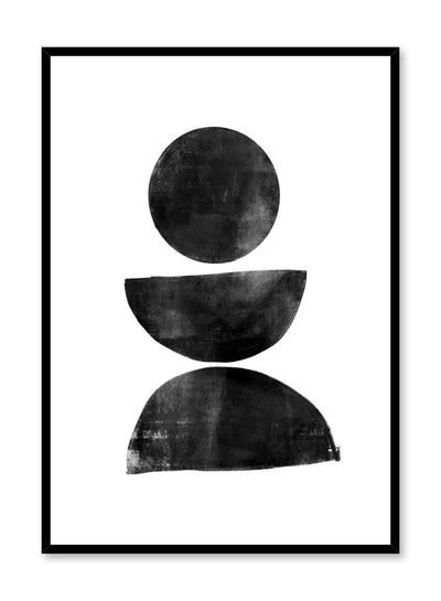Modern minimalist poster by Opposite Wall with black balancing circles stacked on top of each other