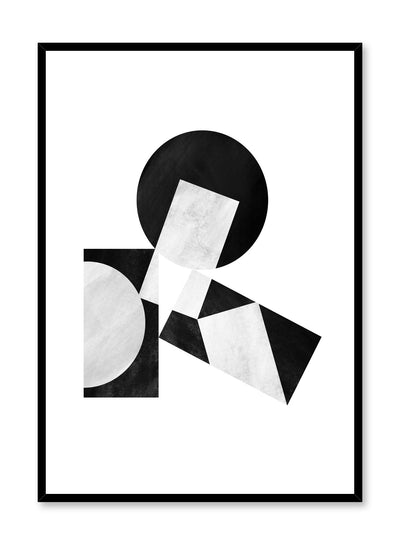 Modern minimalist abstract poster by Opposite Wall with black and white stacked shapes