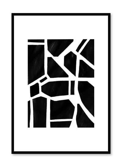 Modern minimalist poster by Opposite Wall with black and white shattered pieces abstract art