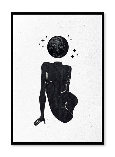 Celestial illustration poster by Opposite Wall with abstract planet on woman body
