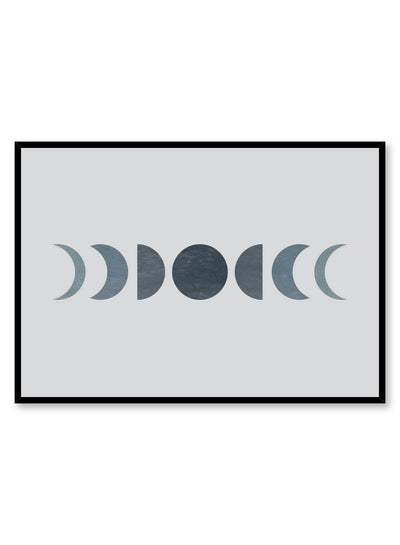 Celestial illustration poster by Opposite Wall with blue moon phases
