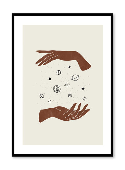 Celestial illustration poster by Opposite Wall with hands holding the universe