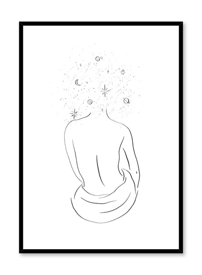 Celestial illustration poster by Opposite Wall with minimalist Head in the Stars drawing