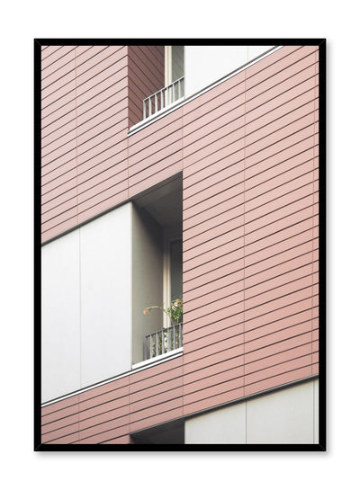 Modern minimalist poster by Opposite Wall with photography of red building balcony