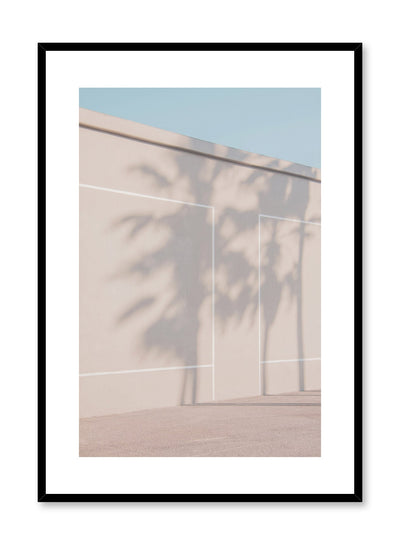 Modern minimalist poster by Opposite Wall with photography of beige wall and palm tree shadows