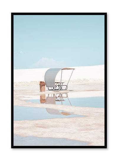Modern minimalist poster by Opposite Wall with photography of deserted picnic table