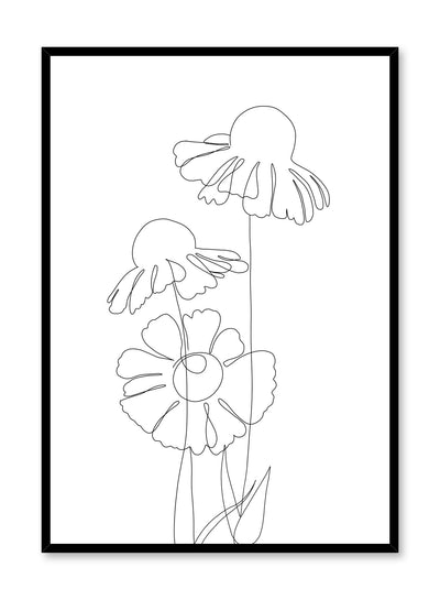Modern minimalist delicate line art poster by Opposite Wall - Coneflower