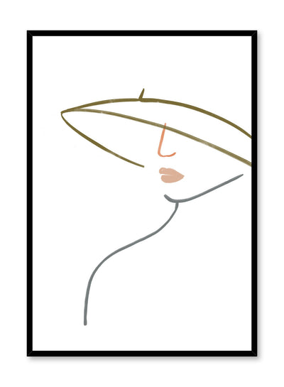 Modern minimalist poster by Opposite Wall with woman line art - Wide Brimmed Hat