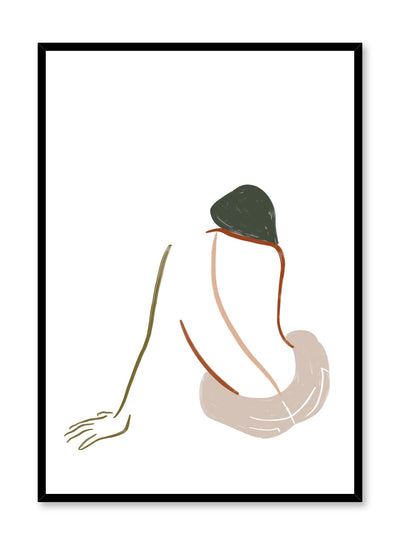 Modern minimalist poster by Opposite Wall with abstract woman line art - Patience