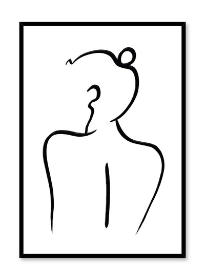 Modern minimalist poster by Opposite Wall with feminine line art - Over the Shoulder