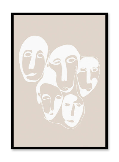 Modern minimalist poster by Opposite Wall with abstract face illustration - Quintet