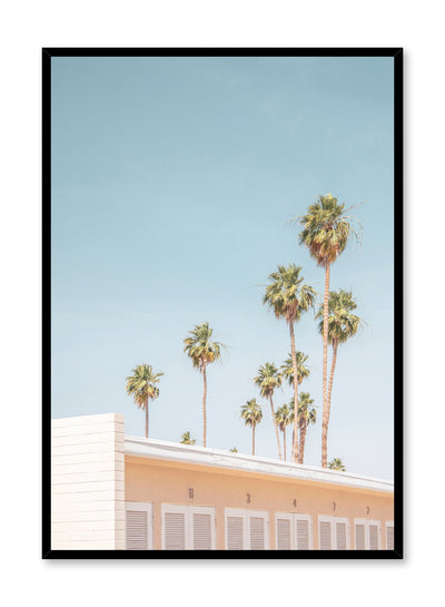 Modern minimalist poster by Opposite Wall with photography of palm trees and building.