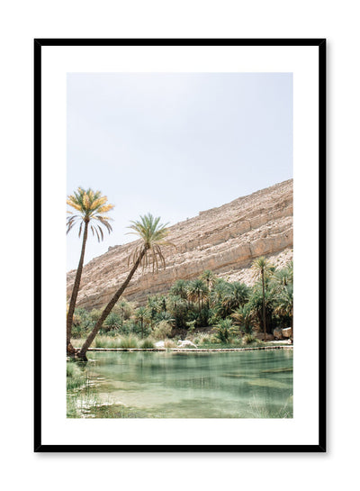 Modern landscape poster by Opposite Wall with photography of desert oasis.