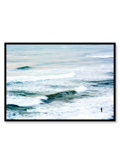 Modern minimalist landscape photography poster by Opposite Wall with blue ocean waves.