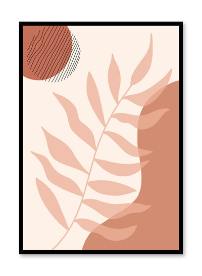 Mid-century modern illustration poster by Opposite Wall with beige leaf