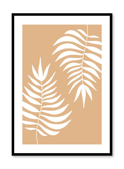 Modern minimalist illustration poster by Opposite Wall with leaves in beige
