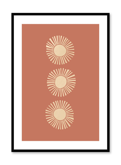 Mid-century modern illustration by Opposite Wall with trio of suns against orange background
