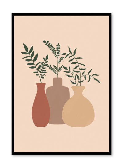 Modern minimalist poster by Opposite Wall with illustration of trio of vases