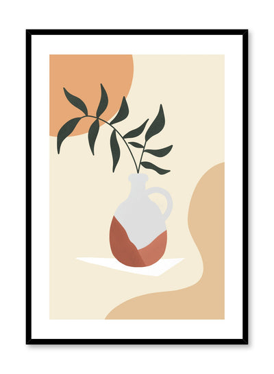 Mid-century modern illustration poster by Opposite Wall with leaves in vase