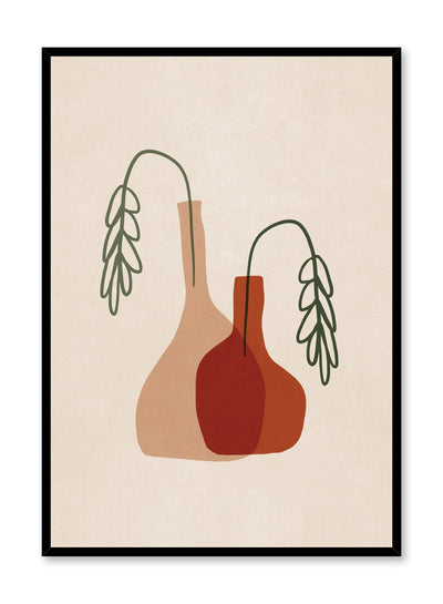 Modern minimalist illustration poster by Opposite Wall with vases and wilted leaves.
