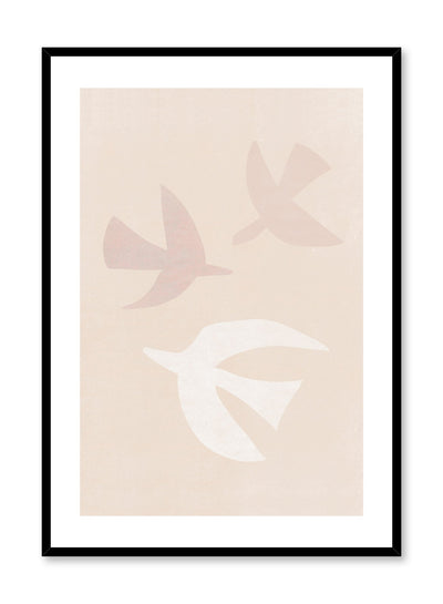 Modern minimalist illustration poster by Opposite Wall with trio of pastel birds