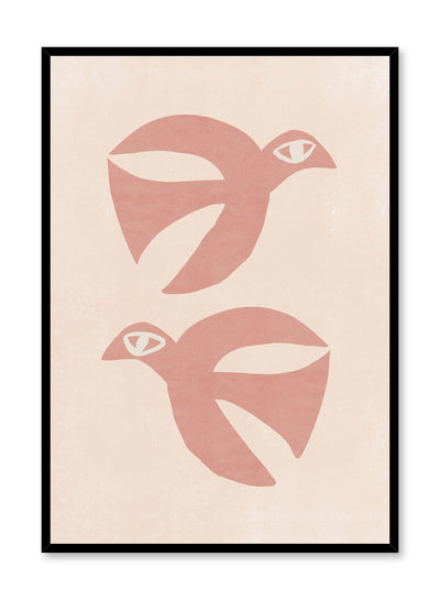 Modern minimalist illustration poster by Opposite Wall with pink birds