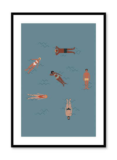 Mid-century modern illustration poster by Opposite Wall with people floating in water.