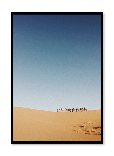 Modern minimalist poster by Opposite Wall with photography of camel Caravan in Sahara Desert